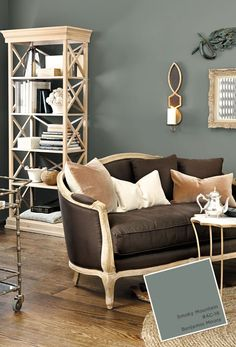 Like this color for the living room makeover. Smoky Mountain AC - 18 Paint Colors from Fall 2014 catalog Living Room Colors, My Living Room, Home And Living, Living Room Decor, Family Room Colors, Interior Paint Colors For Living Room, Kitchen Living, Small Living, Living Spaces