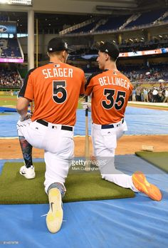 National League All Stars Corey Seager and Cody Bellinger of the Los Angeles Dodgers kneel together at the batting cage during the 2017 Gatorade All-Star Workout Day at Marlins Park on July 2017 in Miami, Florida. Dodgers Girl, Dodgers Baseball, Mlb Players, Baseball Players, Hot Baseball Guys, All Star, Los Angeles Dodgers Logo, Cody Love, Dodgers Nation