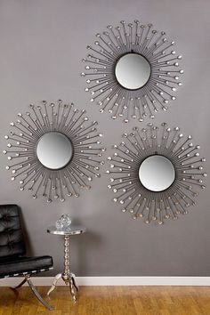 Posh Home Accents Sun Mirror, Mirror Set, Diy Wall Decor, Diy Home Decor, Bedroom Decor, Iron Furniture, Home Decor Furniture, Starburst Mirror, Circular Mirror