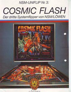 COSMIC FLASH NSM-LIONS ORIGINAL 1985 PINBALL MACHINE SALES FLYER BROCHURE SCARCE #pinballart #scifipinball #pinballflyer #spaceagepinball