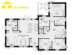 Schwedenhaus bungalow grundriss  Schwedenhaus SkandiHaus 1-geschossig 110 Grundriss | Wohnen ...