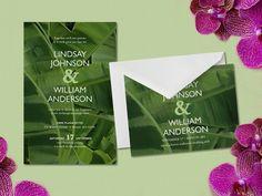 palm leaf wedding invitation  vistaprint  tropical wedding, invitation samples