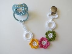 Girl Pacifier Clip Crocheted Pacifier Clip Paci Holder by lilcleo, $12.00