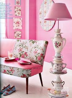 Tea cup floor lamp & floral sofa- Marie Claire Ideas from 3 Divas Design...shabby chic, whimsical
