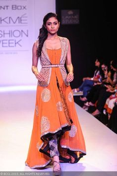 A model showcases a creation by designer Ritika Mirchandani on Day 6 of the Lakme Fashion Week Winter/Festive 2013. #Fashion #Style #LFW