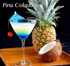 Pina Colada-tini - rum coconut rum, pineapple juice,cream of coconut, blue curaçao