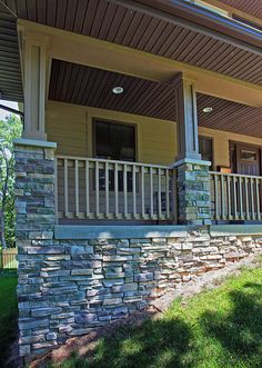 Stacked stone porch/foundation