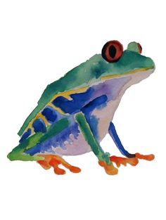 Original Watercolor Painting of a Red Eyed Tree Frog