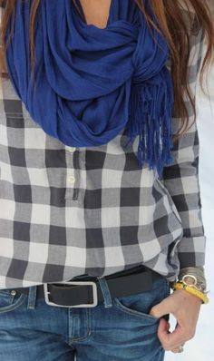 Black & white plaid flannel and royal blue scarf. love how the scarf is tied!
