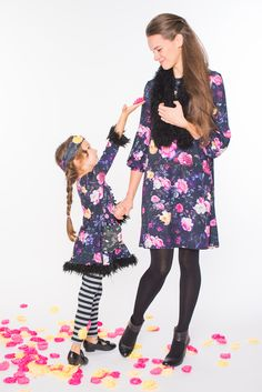 First Look Fall 2016: Zaza Couture's flower print dresses for mother and daughter. www.zazacouture.com