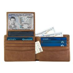 Texbo RFID Blocking Full Grain Cowhide Leather Passport Holder Travel Wallet