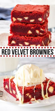 Fudgy, chewy red velvet brownies that have the most beautiful red color and are filled with white chocolate chips. They have the perfect red velvet flavor with just a hint of cocoa powder – so they're not too rich and taste incredible. Valentine Desserts, Valentines Food, Köstliche Desserts, Delicious Desserts, Dessert Recipes, Yummy Food, Valentines Recipes, Tasty, Brownie Recipes