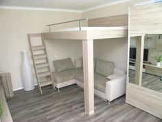 Bunk beds, Loft and suspended beds for the whole family Small Room Bedroom, Bedroom Loft, Small Rooms, Bedroom Decor, Bedroom Ideas, Cool Loft Beds, Bunk Beds With Stairs, Unique Bunk Beds, Lofted Beds