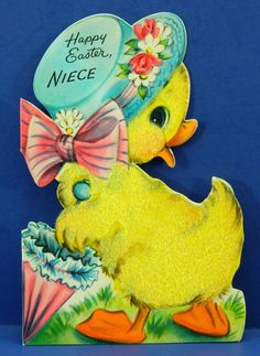 Vintage Greeting Card Hallmark Fuzzy Duck Happy Easter Niece Color Card Die Cut