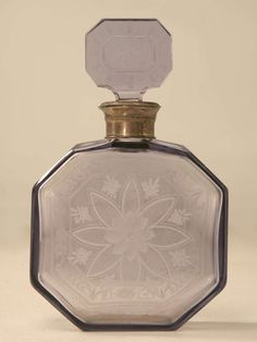Antique French Thistle Colored Glass Perfume Decanter w/Engraved Decorations