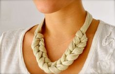 Gold Rope statement necklace - braided fabric necklace - metallic fabric jewelry