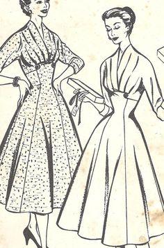 Vintage Pattern Style 905 1950s Elegant frock: High Waist, Full panelled skirt…
