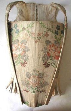 Corsé de 1750, el francés, seda, bordada.