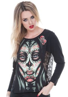 Women's Jawbreaker Day Of The Dead Woman Pullover Black - My Sugar Skulls  #sugarskull #sugarskulls #sugarskullcostume #mexicanskull #sugarskullmakeup #sugarskulltattoo #spoonfulofsugar #dayofthedead #dayofthedeadcostume #dayofthedeadcostumes #diademuertos #mexicandayofthedead #mysugarskulls