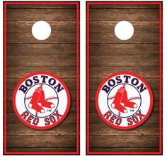 Boston Red Sox Cornhole Board Decal Wrap  by CornholeGraphics