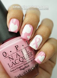 Breast Cancer Awareness nails using OPI - Pink Friday