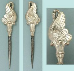 Antique Silver Figural Swan Stiletto / Awl * Germany * Circa 1880