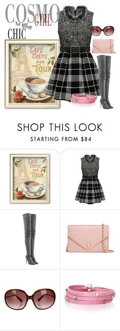 """""""Color Series:  Grey with Pink Accent"""" by briannaandrews500 ❤ liked on Polyvore featuring Tamara Mellon, Tory Burch, Oliver Peoples and Sif Jakobs Jewellery"""