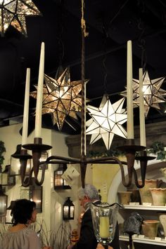 love this wroght iron hanging candelabra  with the glass stars for electric lighting