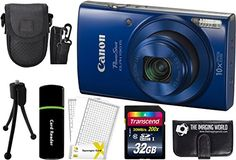 CanonPowerShot ELPH 190 IS 202MP 10x Zoom WiFi Digital Camera Blue  32GB Card  Reader  Case  Accessory Bundle -- Read more reviews of the product by visiting the link on the image.