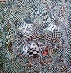 Xadrez - collage sobre MDF - 2014 - colagem de Silvio Alvarez - Acervo Carolina Alvarez Maciel - arte, art, collage, colagem, collage art, collage artist, paper, papel, revistas, recortes, sustentabilidade, reciclagem, reaproveitamento, arte ambiental, brazilian art, silvio Alvarez, surrealism, surrealismo, surreal, collagework, xadrez, dados, jogo, preto e branco, game, matematica, escher, releitura, 3d, tridimensional, ilusao otica, otica
