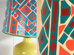 Decorate a lampshade with duct tape.