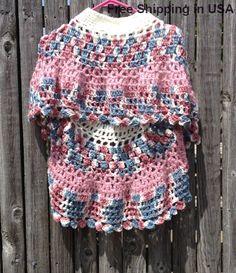 Pink Crochet Poncho For Girl Asymmetrical by ToppyToppyKnits