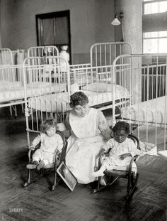 "New York circa 1917. ""St. Luke's Hospital children's ward.""  George Grantham Bain"