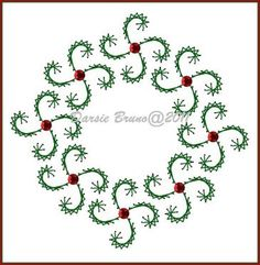 Swirly Christmas Wreath  Embroidery Pattern for Greeting Cards by Darse