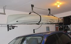Garage storage ideas for kayaks. How do I organize my tools in my garage?Garage storage ideas for kayaks. How do I organize my tools in my garage? But with these 5 tips, you Diy Overhead Garage Storage, Garage Ceiling Storage, Garage Storage Solutions, Storage Ideas, Garage Organization, Garage Shelving, Diy Garage, Organizing, Kayak Storage Rack