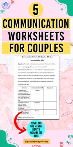 This brief guide discusses 5 Communication worksheets for couples Assertive Communication, Communication In Marriage, Effective Communication Skills, Pre Marriage Counseling, Premarital Counseling, Counseling Worksheets, Therapy Worksheets, Self Improvement Tips, How To Better Yourself