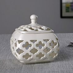 Elegant Ornate Ceramic Box with Lid