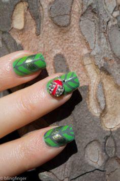 Ladybug - Nail Art.  http://www.blingfinger.net/2014/04/ladybug-nail-art.html