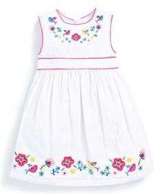Look at this White & Pink Floral Embroidered Dress - Infant, Toddler & Girls Frocks For Girls, Little Girl Dresses, Girls Dresses, Summer Dresses, Baby Dresses, Toddler Outfits, Kids Outfits, Cotton Frocks, White Embroidered Dress
