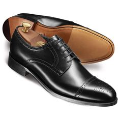 Black harding calf toe cap brogue Derby shoes