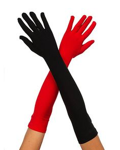 Red and Black Long Gloves - Spirithalloween.com