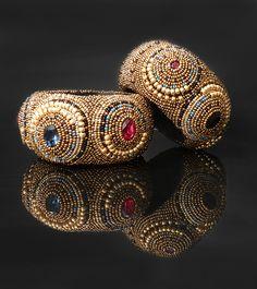 """Купить Браслет """"Византия"""" - золотой, византия, мозаика, красный, синий, черный, бисер, swarovski"""