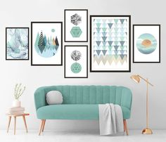 Gallery Wall Set of 6 Scandinavian Abstract Prints, Mid Century Modern Wall Art, Geometric Prints, Minimalist Turquoise Marble Printable Art Turquoise Wall Art, Pink Wall Art, Wall Art Sets, Wall Art Decor, Marble Printable, Printable Wall Art, Geometric Prints, Geometric Wall Art, Pink Walls