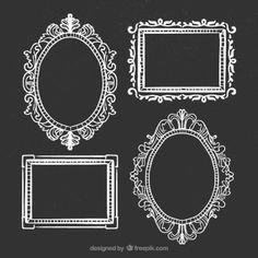 Desenho quadros ornamentais no quadro-negro