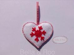 Christmas Heart Hanging Decoration in White Felt ~7.5x6.5=$4.68