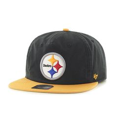 5af00256aaed4 Pittsburgh Steelers Marvin Captain Rf Black 47 Brand Adjustable Hat