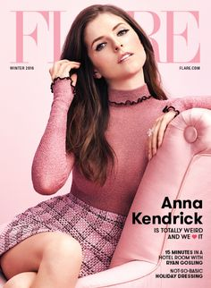 Anna Kendrick photographed by Nino Muñoz for FLARE Magazine Winter 2016 cover. The actress wears a Celine pink top and Gucci plaid skirt