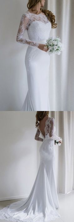 Elegant lace long sleeves mermaid white long wedding dress with train . - bride, wedding dresses, bridal shoes, bridal hair, bridal makeup - Elegant Lace Long Sleeves Mermaid White Long Wedding Dress With Train … dress - Wedding Dress Black, Long Wedding Dresses, Elegant Wedding Dress, Trendy Wedding, Bridal Dresses, Wedding Gowns, Lace Wedding, Prom Dresses, Wedding Ceremony