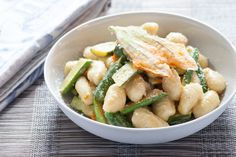 Fresh Gnocchi and Baby Zucchini with Crispy Squash Blossoms & Lemon Brown Butter. Visit http://www.blueapron.com/ to receive the ingredients.
