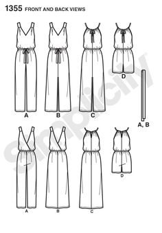 Simplicity 1355 jumpsuit/maxi dress pdf pattern